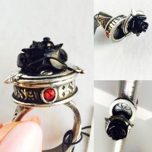 Black Rose Swivel Poison Stash Ring by Alchemy