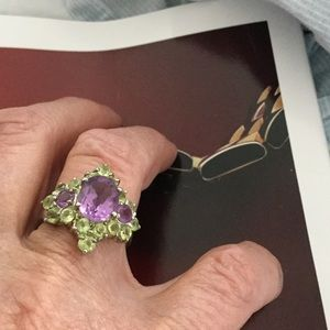 Jewelry - Antique amethyst and peridot ring, 7-3/4