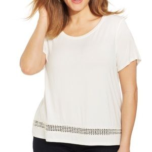 Style & Co Tops - style&co plus size short sleeve crochet trim top