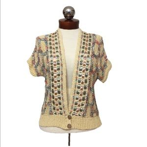 Anthropologie Sweaters - Anthropologie MOTH ribbon woven crochet Cardigan