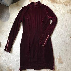 Velvet Mini Zipper Dress