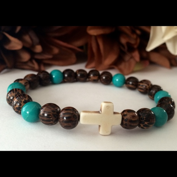 Simply Now And Zen Accessories - Men's Palm Wood Turquoise Howlite Cross Bracelet
