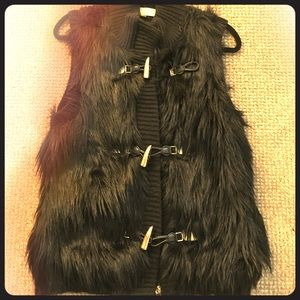 MICHAEL Michael Kors black fur toggle vest