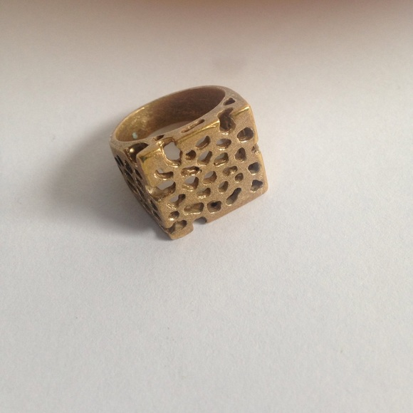 38 jewelry oxidized gold on brass contemporary ring
