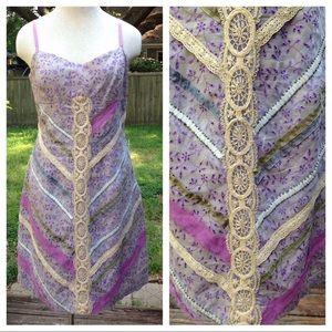 Plenty Tracy Reese purple lace beaded shift dress
