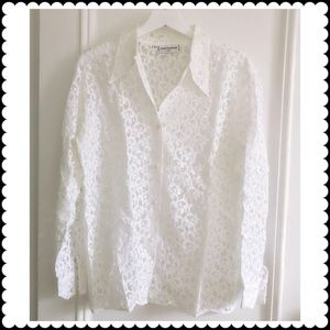 Anne Fontaine Tops - Anne Fontaine white lace blouse.