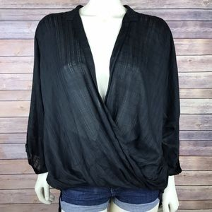 Elan USA Cross Front Wrap Sheer Blouse Top