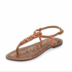 SAM EDELMAN Gale New Coral Thong Sandals Size 8.5