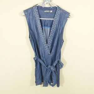 Anthropologie Tops - Holding Horses Stitched Chambray Vest