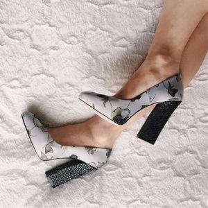Anthropologie Shoes - {anthropologie} dusk blossom satin heels