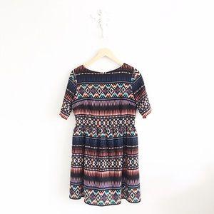 Anthropologie Dresses & Skirts - Anthropologie Mauve Aztec Stripe Fit n Flare Dress