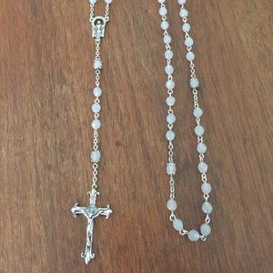 Gorgeous Rosary Silver and Light Blue Detailed