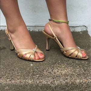 Caparros Shoes - Leather Sole Gold Heels
