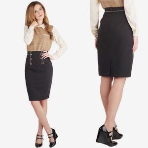 Modcloth Panel of Poets Sailor Pencil Skirt Black