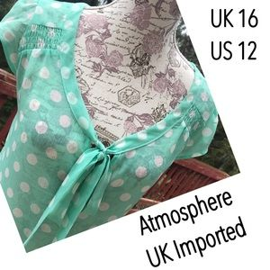 Atmosphere Tops - Atmosphere Imported Mint Polka Dot Chiffon Top 12