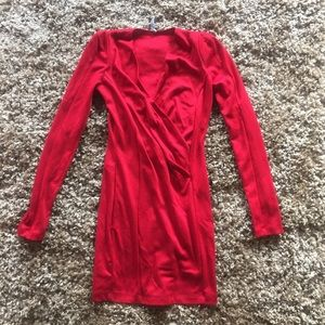 Red. Plunge. Dress.