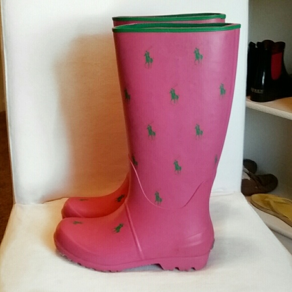 Polo Ralph Lauren Pink Rubber Rain Boots Shoes Green Horse Signature Design. Condition is Pre-owned. Worn once. Shipped with USPS Priority Mail. U.S. Polo Assn Red Jacky Rain Boots Sz 6M Red Navy Waterproof Sz 6M. $ Buy It Now. or Best Offer.