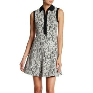 BETSEY JOHNSON Lace Fit and Flare Shirt Dress