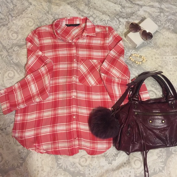Zara zara white and red checkered button down shirt for Red and white button down shirt
