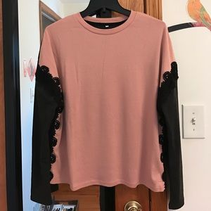 SheIn Color Block Embroidered Lace Long Sleeve Top