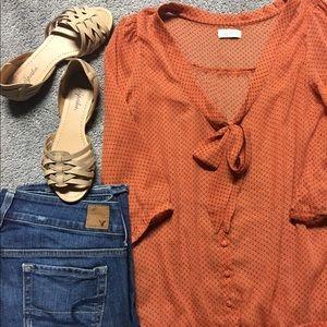 Pull&Bear Tops - Cute Orange & Navy Blue Blouse