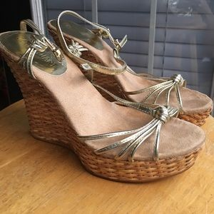 """Colin Stuart Shoes - Gold Gently Used 4.5"""" Wedge Sandals. Sexy!!"""