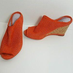 Johnston & Murphy Shoes - Johnston & Murphy, orange slide cork wedge sandal