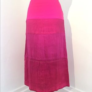 dosa Dresses & Skirts - Dosa Hot Pink Silk Skirt with Tiny Rhinestones