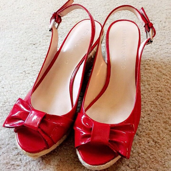 8e4dfff38 Franco Sarto Shoes - Red Slingback Bow Wedge High Heels