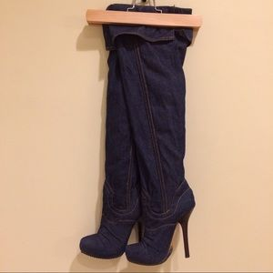 bebe Shoes - Bebe Over the Knee Jean Boots 5
