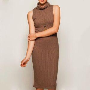 Dresses & Skirts - Heather Brown Turtleneck Bodycon Dress,M