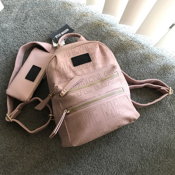 e8b6147c6fd8 Steve Madden Faux Leather Blush Pink Backpack