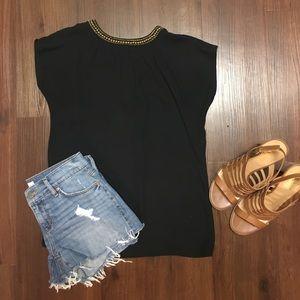 LOFT Tops - Loft cap sleeve black top with embellished collar