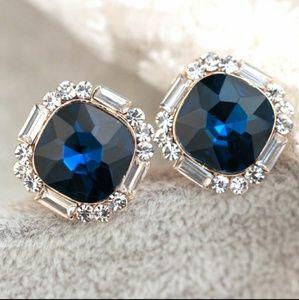 Jewelry - Deep Ocean Swacoski Elements Square Crystal Stud