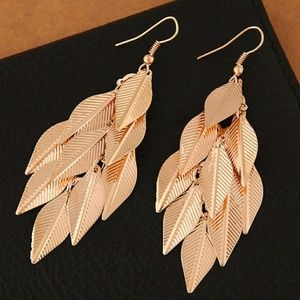 Gold Multi Leaf Dangle Earring