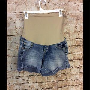 Wallflower Pants - Wallflower jean maternity short w/frayed cuff hem
