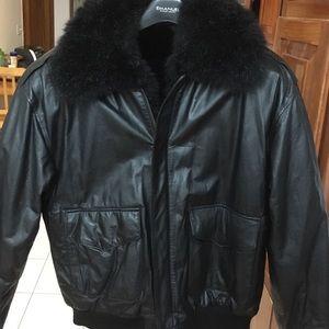Vintage Other - Men's Vintage Bomber Style Jacket with Fur MED