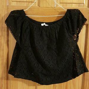 Lush Tops - Lush  Black Crochet Lace Blouse NWT