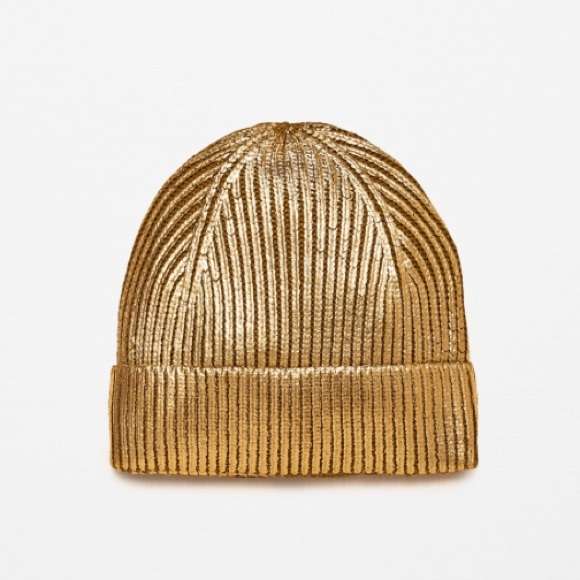 13d6e74c Zara Accessories | Moving Sale Gold Beanie | Poshmark