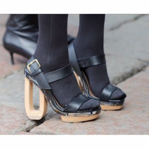 Marni Shoes - Marni Platform Wood, Lucite, Leather Heels