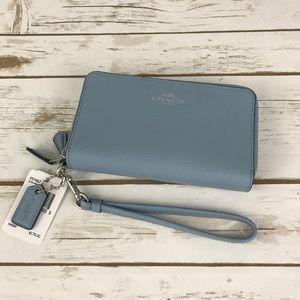 Coach Handbags - Coach Crossgrain Leather Double Zip Wallet