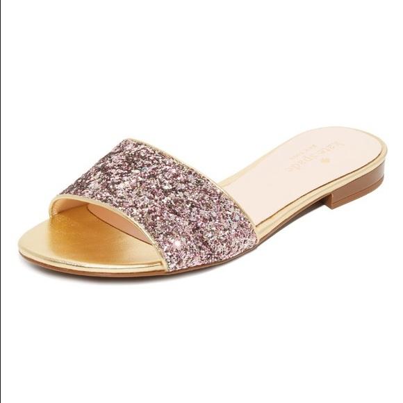 307cd82bf32c kate spade Shoes - Kate Spade Rose Gold Glitter Madeline Slides 8.5