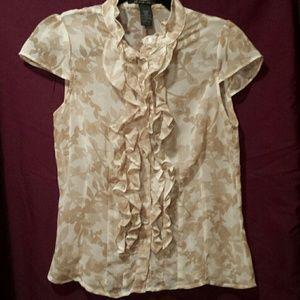 Pierre Cardin Tops - Pierre Cardin sheer ruffle blouse