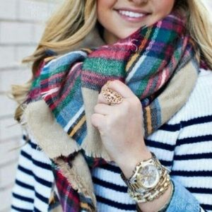 Accessories | Tan plaid blanket scarf multi