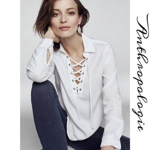 Anthropologie cloth and stone white top, nwot, Xs.