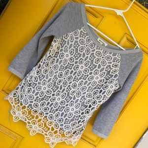 Monteau Tops - Crocheted/lace overlay gray sweatshirt