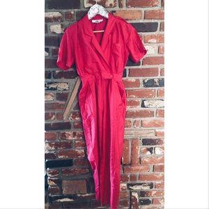 vintage Pants - Vtg 80s Pink Jumpsuit Romper Button Down 4 SM