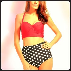 Other - New High Waisted Halter Polkadot Retro Bikini