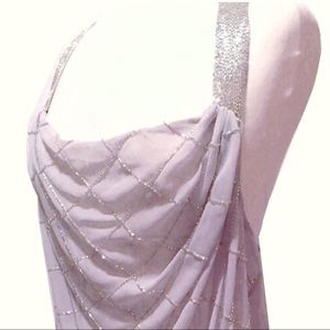 BKE Boutique Bead Embellished Pale Gray Tank Top