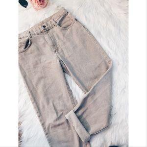 Vintage Pants - Vtg 90s Lee High Waisted Tan Mom Denim Jeans 28